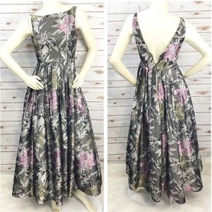 Adrianna Papell Boat Neck Floral Gown Sz 4